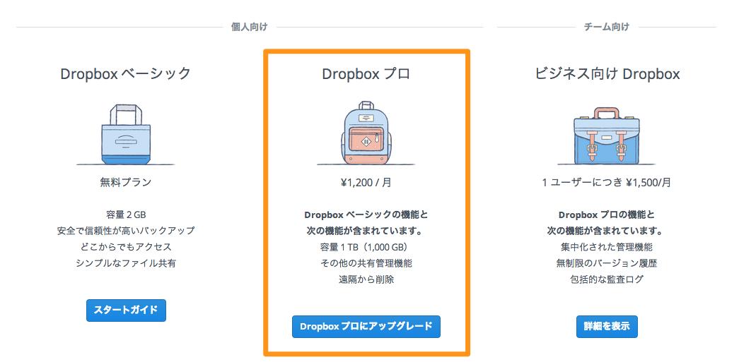 Dropboxプロ版